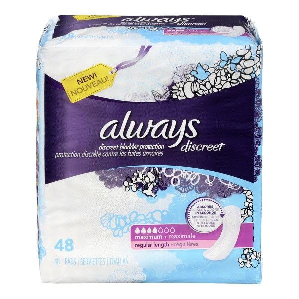 buy always discreet bladder protection pads in canada