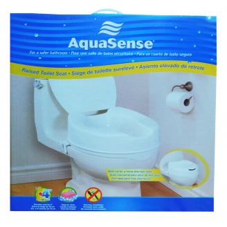 AquaSense Raised Toilet Seat 4'' with Lid