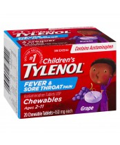 Children's Tylenol Chewables, Fever & Sore Throat 20 Tablets