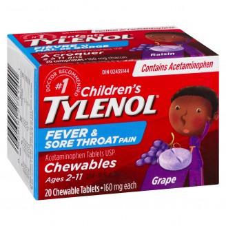 Children's Tylenol Chewables, Fever & Sore Throat 20 Tablets