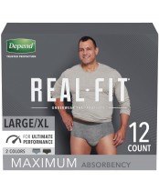 Depend Real Fit Underwear for Men Maximum Absorbency 12 Count