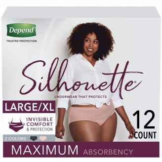 Depend Silhouette Underwear for Women Maximum Absorbency 12 Count