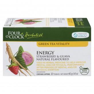 Four O'Clock Green Tea Vitality Energy Strawberry & Guava