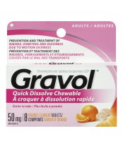 Gravol Dimenhydrinate Quick Dissolve Chewable Tablets for Adults