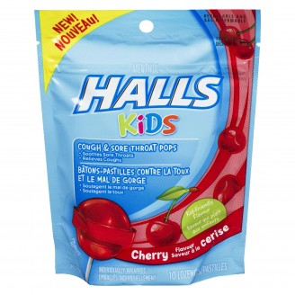 Halls Kids Cough & Sore Throat Cherry Pops