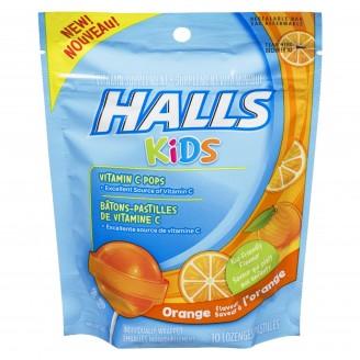 Halls Kids Cough & Sore Throat Orange Pops