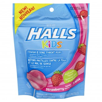 Halls Kids Cough & Sore Throat Strawberry Pops