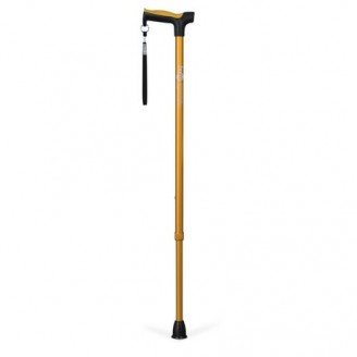 Hugo Adjustable Derby Handle Cane with Reflective Strap, Amber