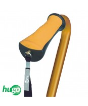 Hugo Adjustable Offset Handle Cane with Reflective Strap, Amber