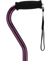 Nova Walking Cane with Offset Handle - Purple Checkers