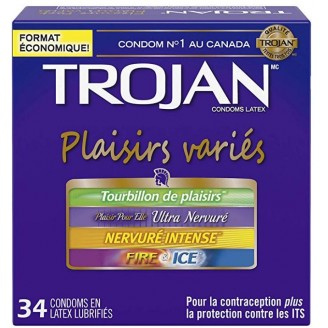 Trojan Pleasure Pack Assorted Lubricated Latex Condoms