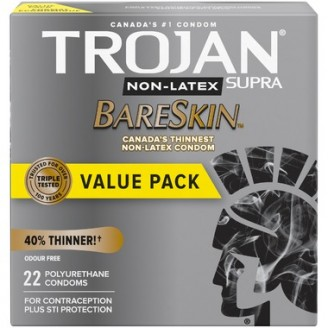 Trojan Supra Non-Latex BareSkin Lubricated Polyurethane Condoms
