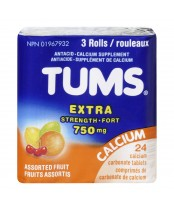 TUMS Antacid Calcium Supplement Chewable Tablets