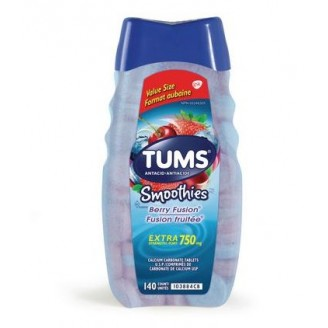 Tums Extra Strength Smoothies Antacid for Heartburn Relief Berry Fusion 140's