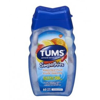 Tums Extra Strength Smoothies Antacid for Heartburn Relief Berry Fusion 60's