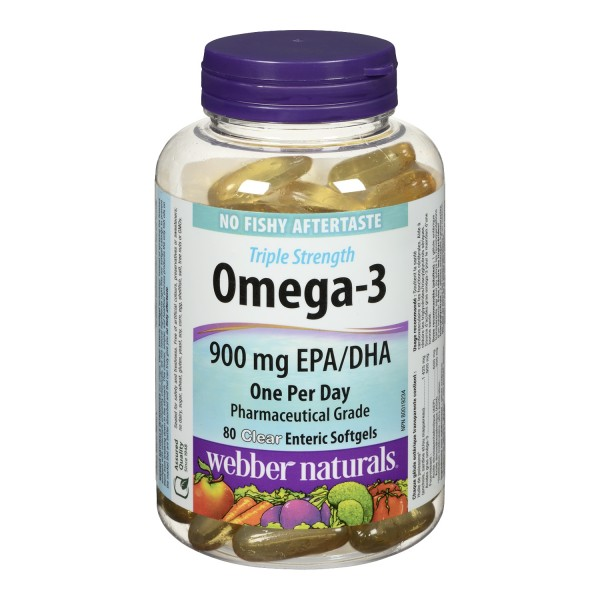 Buy webber naturals omega 3 clear enteric softgels in for Viva naturals triple strength omega 3 fish oil