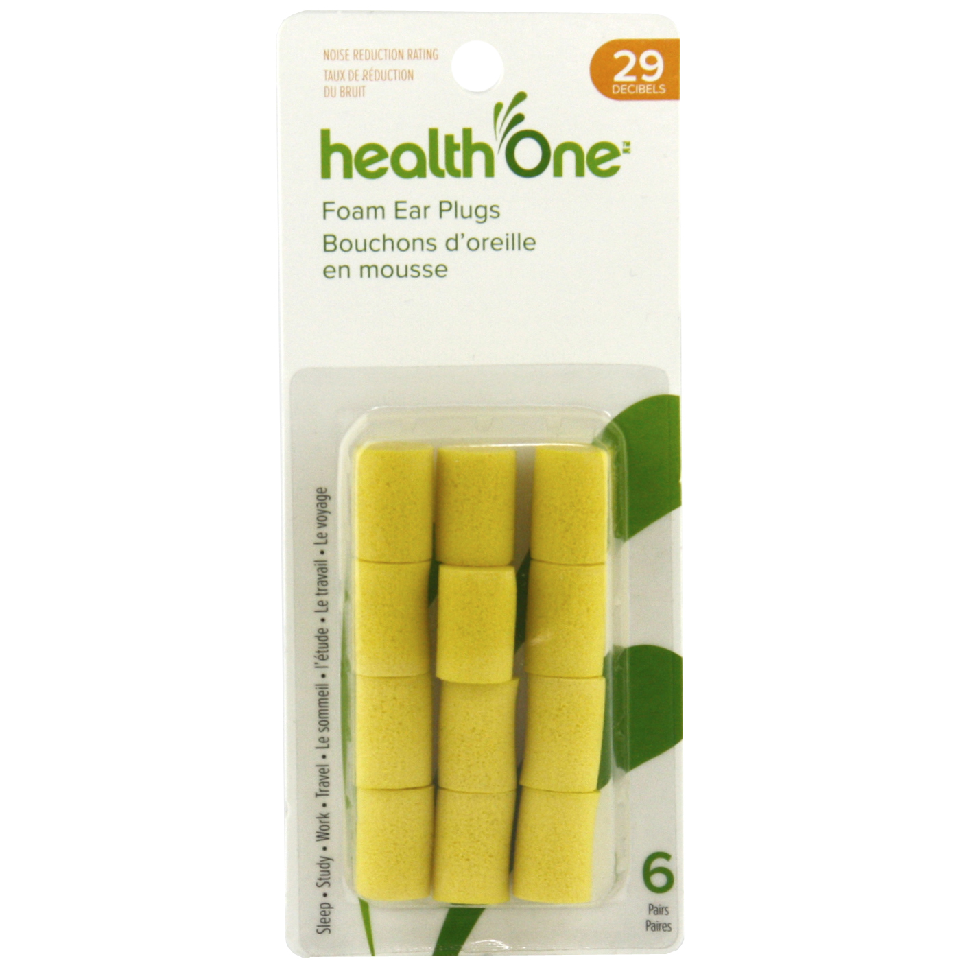 health One Foam Ear Plugs, NRR 29, With Case, 1 Pair