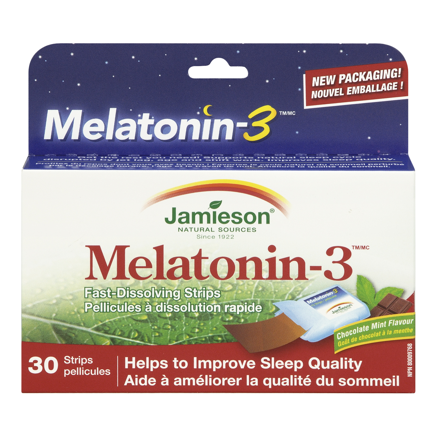 Jamieson High Potency Melatonin 3 mg, Chocolate Mint, 30 Tablets
