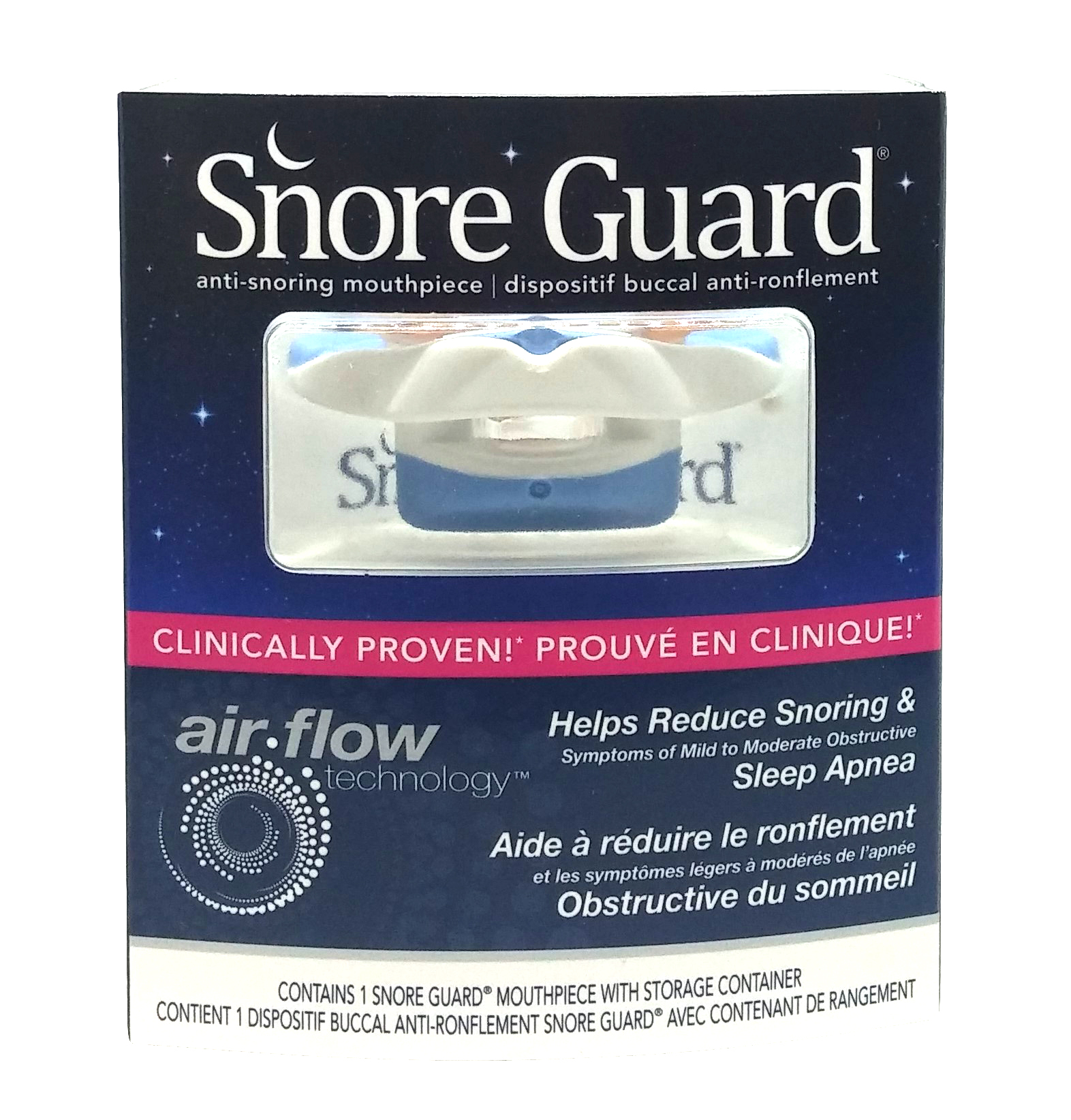 Snore Guard Anti-Snoring Mouthpiece, With Airflow Technology