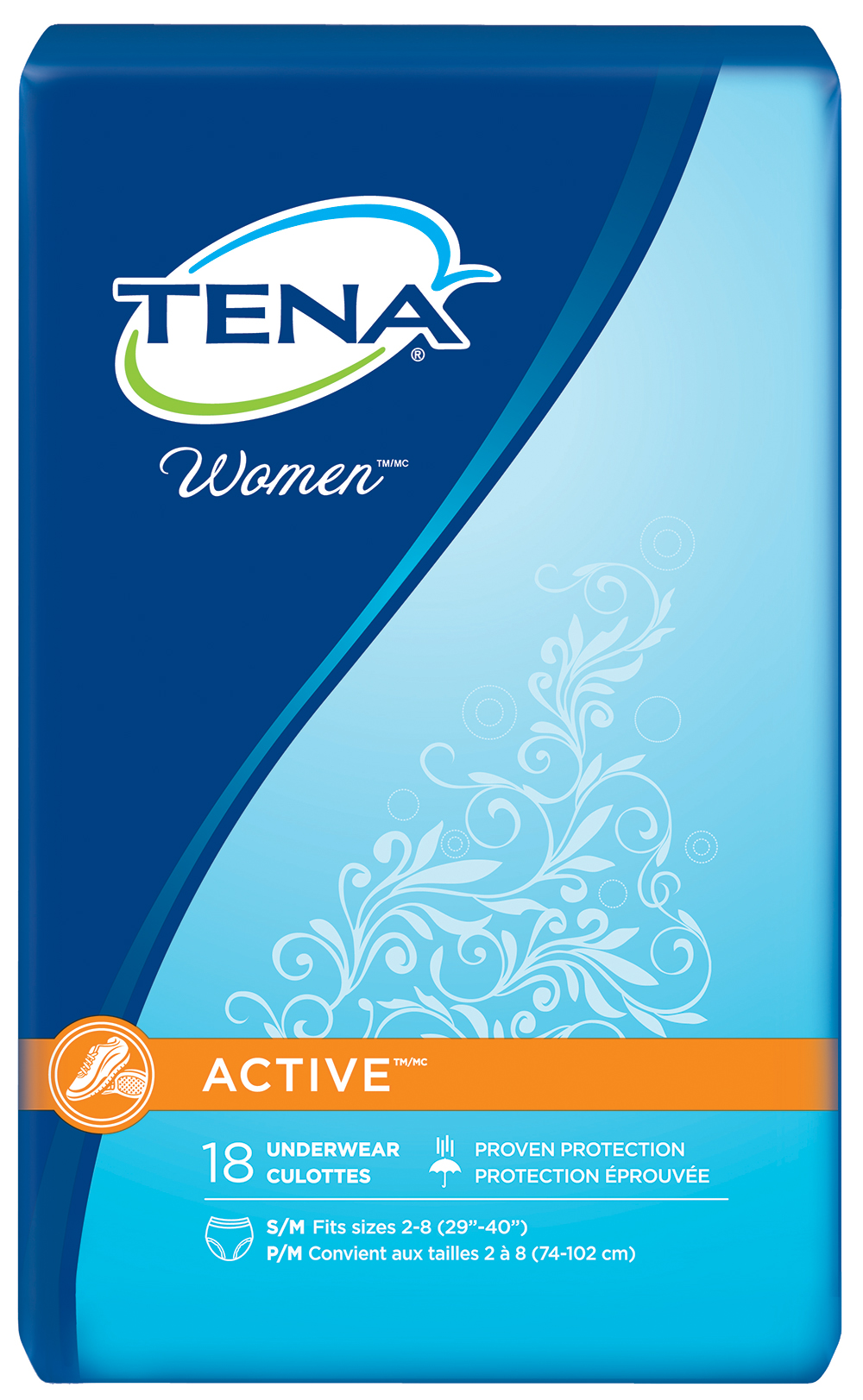 Tena Women Active Underwear, Small, 18 Pairs